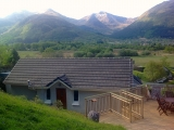 Studio entrance and top decking, looking south to Beinn a Bheithir